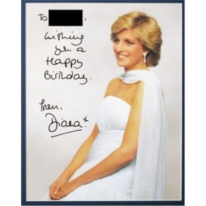 Autographed writing and signature Princess Diana