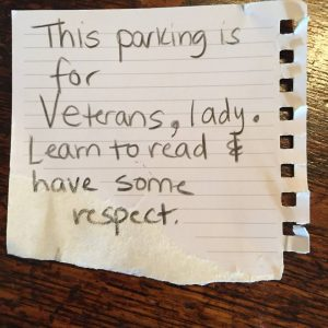Note left on Veteran's windshield